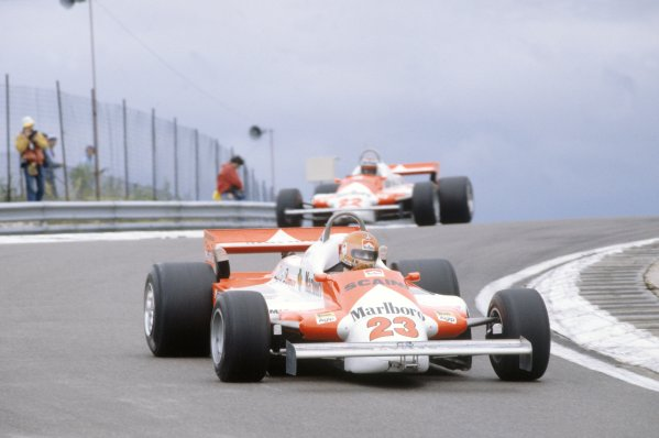 1981 French Grand Prix.Dijon-Prenois, France. 3-5 July 1981.Bruno Giacomelli leads Mario Andretti (both Alfa Romeo 179B). They finished in 15th and  8th position respectively.World Copyright: LAT PhotographicRef: 35mm transparency 81FRA26