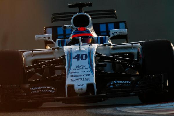 Yas Marina Circuit, Abu Dhabi, United Arab Emirates. Wednesday 29 November 2017. Robert Kubica, Williams FW40 Mercedes.  World Copyright: Zak Mauger/LAT Images  ref: Digital Image _56I6721