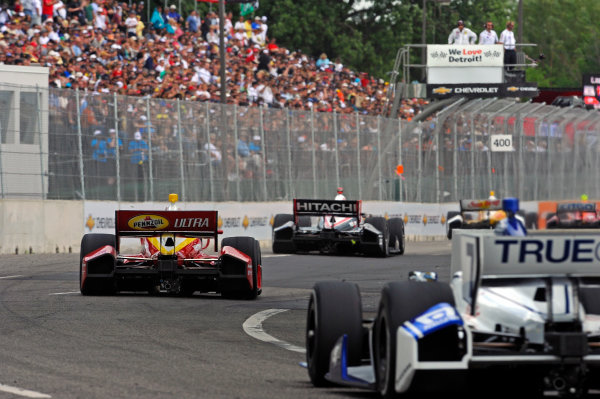 1-2 June, 2012, Detroit, Michigan, USAHelio Castroneves (#3) races onto the main straight in the opening laps.(c)2012, F. Peirce WilliamsLAT Photo USA