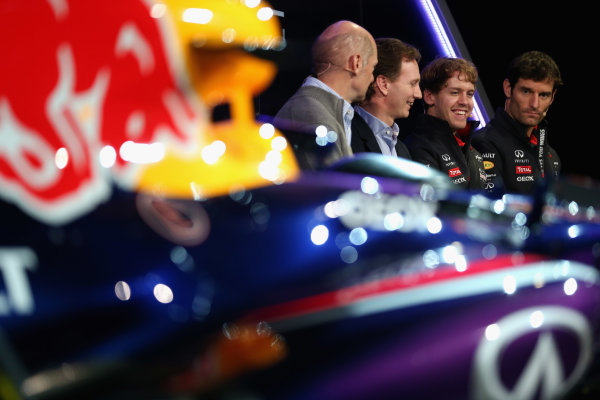 Milton Keynes, UK 3rd February 2013 .(L-R) Adrian Newey, Chief Technical Officer, Christian Horner, Team Principle, Mark Webber of Australia, and Sebastian Vettel of Germany talk to the guests Photo: Mark Thompson/Getty Images/Red Bull Racing () ref: Digital Image 160597651_10