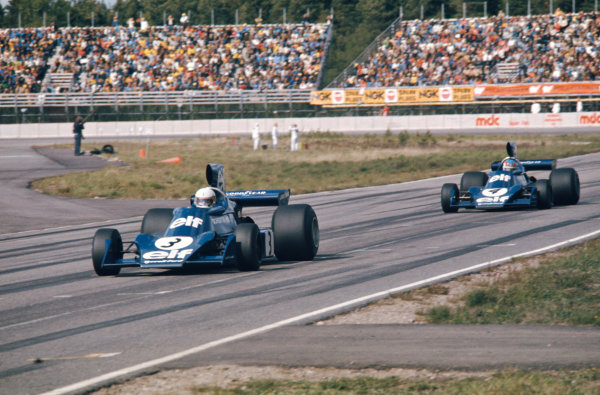 1974 Swedish Grand Prix  Anderstorp, Sweden. 7-9 June 1974.  Jody Scheckter, Tyrrell 007 Ford, 1st position, leads teammate, Patrick Depailler, Tyrrell 007 Ford, 2nd position.  Ref: 74SWE06. World Copyright: LAT Photographic