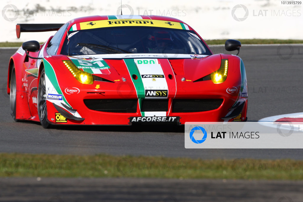 2013 FIA WEC Championship, Silverstone, Northamptonshire. 12th - 14th April 2013. Gianmaria Bruni / Giancarlo Fisichella AF Corse Ferrari 458 Italia World Copyright: Ebrey / LAT Photographic.