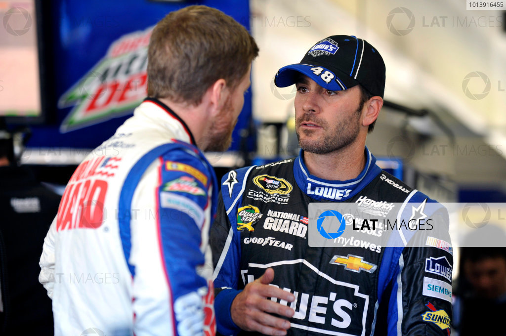 11-13 April, 2013, Fort Worth, Texas USA Jimmie Johnson and Dale Earnhardt Jr. ©2013, Nigel Kinrade LAT Photo USA