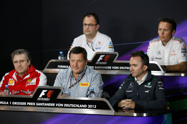 Nurburgring, Germany 5th July 2013 Pat Fry, Director of Chassis, Ferrari, Tom McCullough, Head of Track Engineering, Sauber F1, Paul Hembery, Director, Pirelli, Paddy Lowe, Executive Director (Technical), Mercedes AMG, and Sam Michael, Sporting Director, McLaren, in the Friday Press Conference World Copyright: Charles Coates/  ref: Digital Image _N7T9030