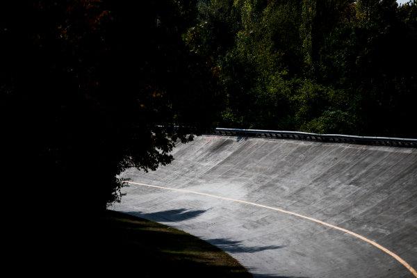 2017 FIA Formula 2 Round 9. Autodromo Nazionale di Monza, Monza, Italy. Thursday 31 August 2017. The old Monza banking. Photo: Zak Mauger/FIA Formula 2. ref: Digital Image _54I4882
