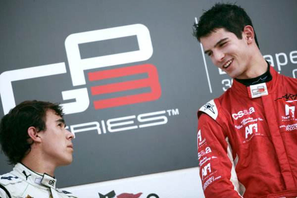 Round 6.Hungaroring, Budapest, Hungary. 1st August 2010. Sunday Race.Alexander Rossi (USA, ART Grand Prix) celebrates victory on the podium with Robert Wickens, (CAN, Status Grand Prix). Portrait. World Copyright: Drew Gibson/GP3 Media Service. Digital Image _Y8P4986