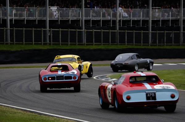 2015 Goodwood Revival Meeting.  Goodwood Estate, West Sussex, England. 11th - 13th September 2015.  TT Celebration.  Richard Weins / Danny Watts, Jaguar E-Type, leads Lindsay / Bridges, Shelby Cobra, Emanuele Pirro / Derek Bell, Ferrari 250 LM, and Jo Bamford / Alain de Cadenet, Ferrari 250 GTO.  Ref: _W5_5982. World copyright: Kevin Wood/LAT Photographic