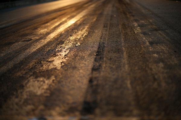 Hungaroring, Budapest, Hungary. Friday 24 July 2015. Track surface detail as the sun rises. World Copyright: Charles Coates/LAT Photographic ref: Digital Image _J5R4584