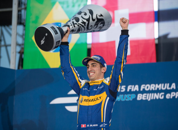 FIA Formula E Championship 2015/16. Beijing ePrix, Beijing, China. Race Sebastien Buemi, RENAULT E.DAMS on the podium Beijing, China, Asia. Saturday 24 October 2015 Photo:  / LAT / FE ref: Digital Image _L2_4347
