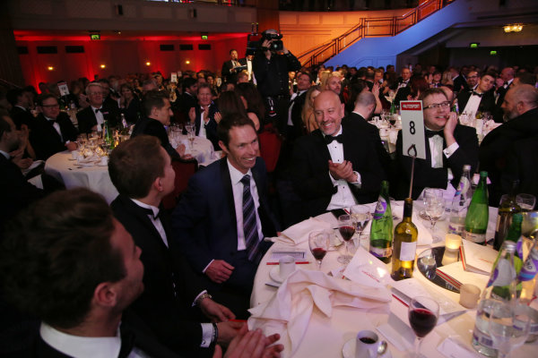 2016 Autosport Awards.  Grosvenor House Hotel, Park Lane, London. Sunday 4 December 2016.  Jonny Kane wins the use of a Mercedes Coupe for a year in a raffle. Guests on his table include David Brabham. World Copyright: Jed Leicester/LAT Images. ref: Digital Image JL3_9244
