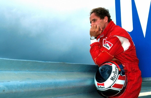 Gerhard Berger (AUT) Ferrari 412T1 reflects on what might have been having led from pole position for seven laps before his transmission failed him. 