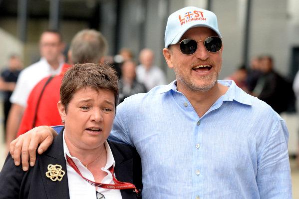 Kate Beavan (GBR) FOM and Woody Harrelson (USA) Actor at Formula One World Championship, Rd10, British Grand Prix, Race, Silverstone, England, Sunday 16 July 2017.