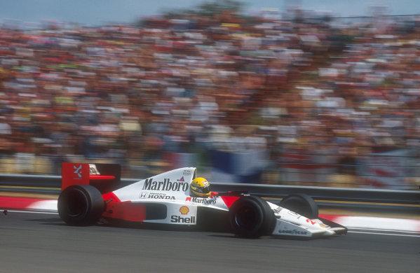 1990 Hungarian Grand Prix.Hungaroring, Budapest, Hungary.10-12 August 1990.Ayrton Senna (McLaren MP4/5B Honda) 2nd position.Ref-90 HUN 04.World Copyright - LAT Photographic