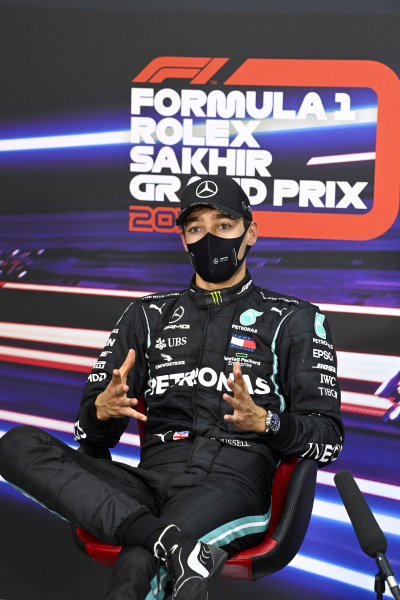 George Russell, Mercedes-AMG Petronas F1, in the press conference