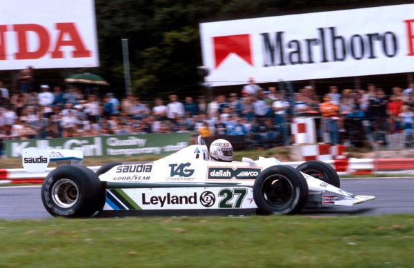 1980 British Grand Prix.Brands Hatch, England.11-13 July 1980.Alan Jones (Williams FW07B Ford) 1st position.Ref-80 GB 21.World Copyright - LAT Photographic