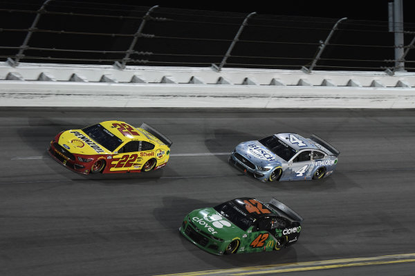 #22: Joey Logano, Team Penske, Ford Mustang Shell Pennzoil #42: Ross Chastain, Chip Ganassi Racing, Chevrolet Camaro Clover #4: Kevin Harvick, Stewart-Haas Racing, Ford Mustang Busch Light #TheCrew