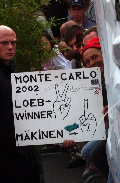 An enthusiastic fan shows his 'support' for Makinen.Fia World Rally Championship, Rd10, Rallye Deutschland, Germany, Leg 3, 25 August 2002.DIGITAL IMAGE