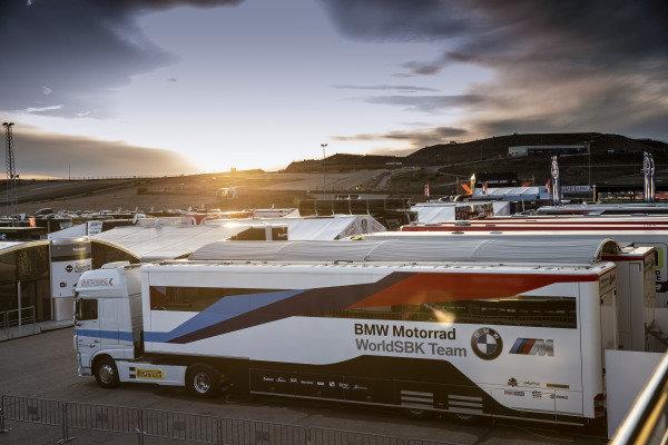 BMW trucks, paddock