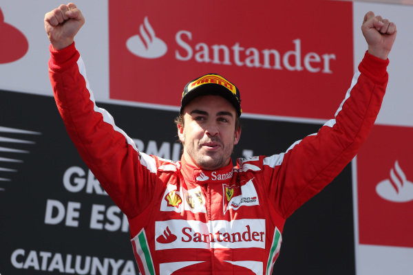 Race winner Fernando Alonso (ESP) Ferrari celebrates on the podium. Formula One World Championship, Rd5, Spanish Grand Prix, Race Day, Barcelona, Spain, Sunday 12 May 2013.