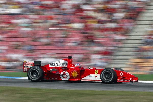 2004 German Grand Prix - Sunday Race,Hockenheim, Germany. 25th July 2004 Rubens Barrichello, Ferrari F2004, action.World Copyright: Steve Etherington/LAT Photographic ref: Digital Image Only