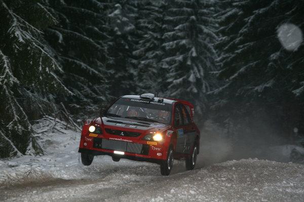 2005 FIA World Rally Champs. Round two Swedish Rally.10th-13th February 2005.Gigi Galli, Mitsubishi, action.World Copyright: McKlein/LAT