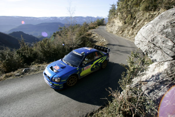 2005 FIA World Rally Champs. Round one, Rally Monte Carlo 20th-23rd January 2005 Petter Solberg, Subaru, action World Copyright: McKlein/LAT