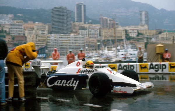 Ayrton Senna (BRA) Toleman TG184 stormed through to second place in a rain-soaked race and looked set to take the lead before the race was stopped short of half distance. Monaco Grand Prix, Rd6, Monte-Carlo, Monaco, 3 June 1984.