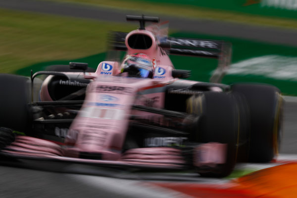 Autodromo Nazionale di Monza, Italy. Friday 01 September 2017. Sergio Perez, Force India VJM10 Mercedes. World Copyright: Steven Tee/LAT Images  ref: Digital Image _O3I4765