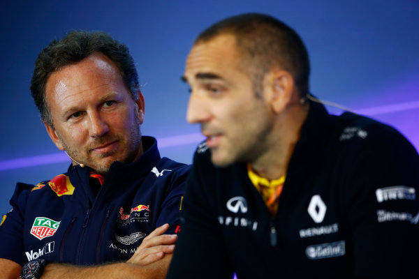 Spa Francorchamps, Belgium.  Friday 25 August 2017. Christian Horner, Team Principal, Red Bull Racing, and Cyril Abiteboul, Managing Director, Renault Sport F1, in the Team Principals Press Conference. World Copyright: Andy Hone/LAT Images  ref: Digital Image _ONZ9451