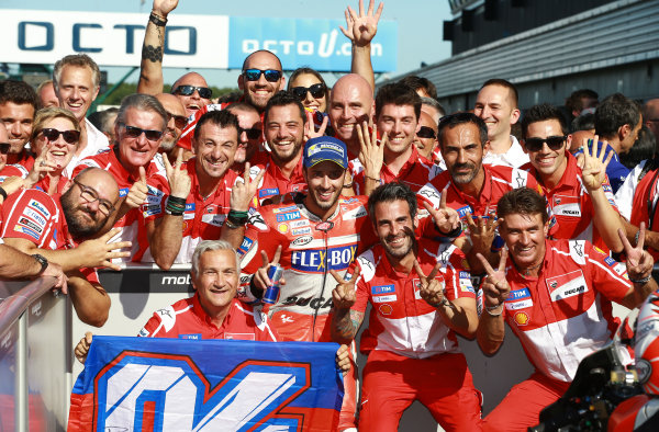 2017 MotoGP Championship - Round 12 Silverstone, Northamptonshire, UK. Sunday 27 August 2017 Race winner Andrea Dovizioso, Ducati Team World Copyright: Gold and Goose / LAT Images ref: Digital Image 1051