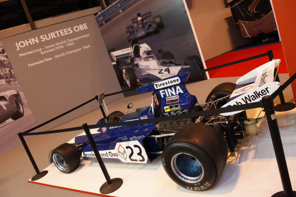 Surtees TS9B on the Surtees display. Autosport International Show, NEC, Birmingham, England, Day One, 9 January 2014.