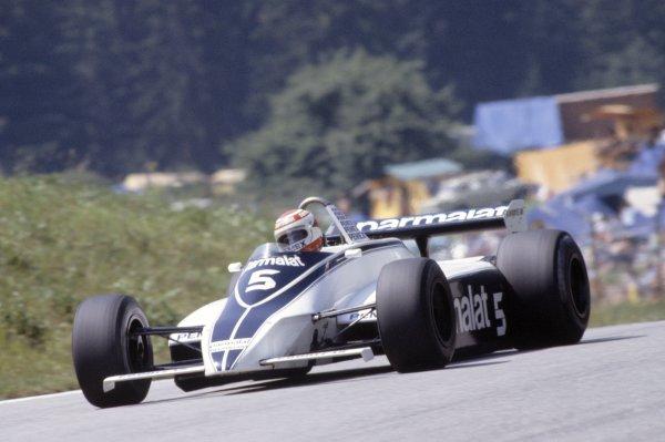 1981 Austrian Grand Prix.Osterreichring, Austria. 14-16 August 1981.Nelson Piquet (Brabham BT49C-Ford Cosworth), 3rd position.World Copyright: LAT PhotographicRef: 35mm transparency 81AUT01