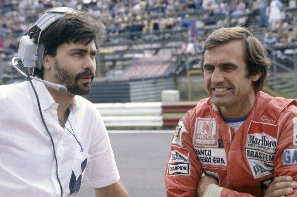 1980 Austrian Grand Prix.Osterreichring, Austria. 15-17 August 1980.Gordon Murray (Brabham designer) with Carlos Reutemann (Williams FW07B-Ford Cosworth). Portrait.World Copyright: LAT PhotographicRef: 35mm transparency 80AUT11