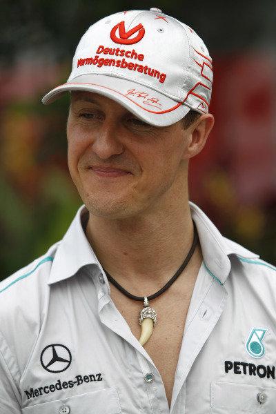 Sepang, Kuala Lumpur, Malaysia 9th April 2011 Michael Schumacher, Mercedes GP W02. Portrait.  World Copyright: Andrew Ferraro/LAT Photographic ref: Digital Image _Q0C5564