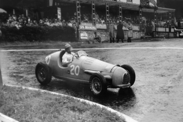 "1952 Belgian Grand Prix.Spa-Francorchamps, Belgium. 22 June 1952.""B Bira"" (Gordini T15). Ref-52/24 #27A.World Copyright - LAT Photographic"