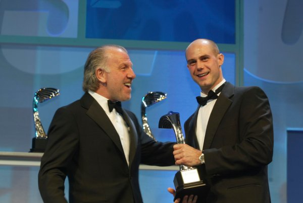 2003 AUTOSPORT AWARDS, The Grosvenor, London. 7th December 2003.David Richards presents National Rally Driver award to Martin Rowe.Photo: Peter Spinney/LAT PhotographicRef: Digital Image only