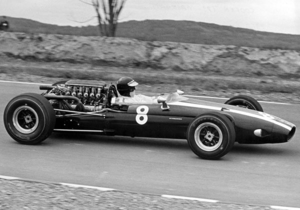 Mexico City, Mexico. 23rd October 1966.Jochen Rindt (Cooper T81-Maserati), retired, action.World Copyright: LAT PhotographicRef: b&w print