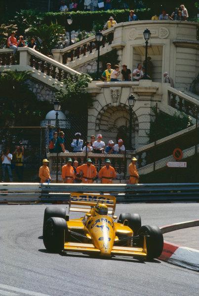 1987 Monaco Grand Prix. Monte Carlo, Monaco. 28th - 31st May 1987.  Ayrton Senna (Lotus 99T Honda),1st position, action. World Copyright: LAT Photographic. Ref: 87MONc