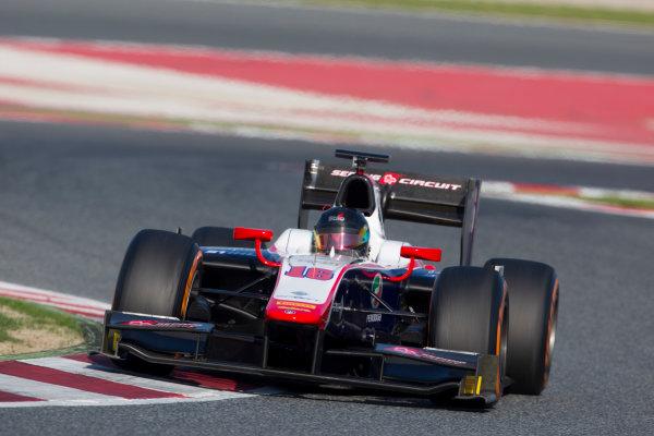Circuit de Barcelona Catalunya, Barcelona, Spain. Tuesday 14 March 2017. Nabil Jeffri, (MAS, Trident). Action.  Photo: Alastair Staley/FIA Formula 2 ref: Digital Image 585A8914