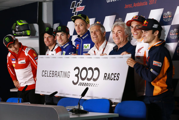 2017 MotoGP Championsip - Round 4 Jerez, Spain Thursday 4 May 2017 Celebration for the 3000 races rider line up World Copyright: Gold & Goose Photography/LAT Images ref: Digital Image 667550