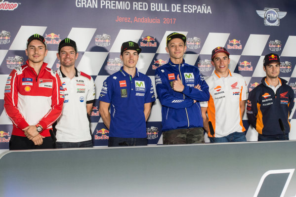 2017 MotoGP Championship - Round 4 Jerez, Spain Thursday 4 May 2017 Jorge Lorenzo, Ducati Team, Cal Crutchlow, Team LCR Honda, Maverick Vi?ales, Yamaha Factory Racing, Valentino Rossi, Yamaha Factory Racing, Giacomo Agostini, Angel Nieto, Marc Marquez, Repsol Honda Team, Dani Pedrosa, Repsol Honda Team  World Copyright: Gold & Goose Photography/LAT Images ref: Digital Image 667561