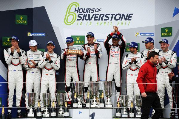 2017 World Endurance Championship, Silverstone, UK. 14th-16th April 2017, P1 Podium  World Copyright. JEP/LAT Photographic