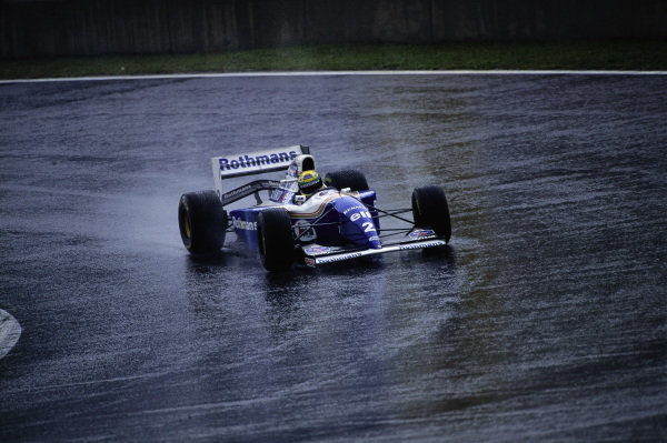 Ayrton Senna, Williams FW16 Renault, during a wet practice session.