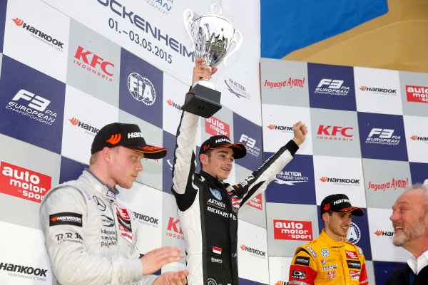 FIA F3 European Championship Hockenheim, Germany 1st - 3rd May 2015 7 Charles Leclerc (MCO, Van Amersfoort Racing, Dallara F312 – Volkswagen). (Race 3). Copyright Free FOR EDITORIAL USE ONLY. Mandatory Credit: FIA F3. ref: Digital Image FIAF3-1430673993