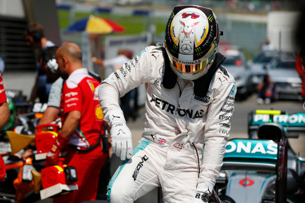 Red Bull Ring, Spielberg, Austria. Saturday 2 July 2016. Pole man Lewis Hamilton, Mercedes AMG, arrives in Parc Ferme. World Copyright: Andrew Hone/LAT Photographic ref: Digital Image _ONY4940