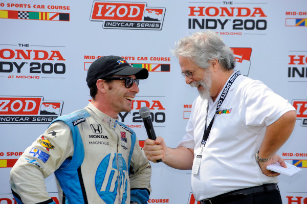 3-5 August, 2012, Lexington, Ohio USA3rd place Simon Pagenaud (#77) gives an interview in Victory Lane.(c)2012, F. Peirce WilliamsLAT Photo USA