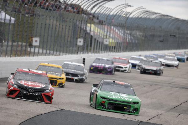 #20: Christopher Bell, Joe Gibbs Racing, Toyota Camry Rheem/Watts, #42: Ross Chastain, Chip Ganassi Racing, Chevrolet Camaro Clover