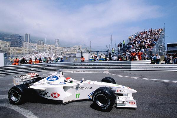 1999 Monaco Grand Prix.Monte Carlo, Monaco. 13-16 April 1999.Johnny Herbert (Stewart SF3 Ford) at Rascasse.Ref-99 MON 103.World Copyright - Gavin Lawrence/LAT Photographic