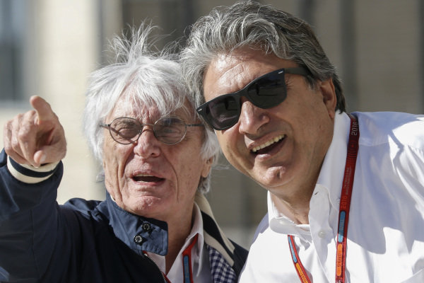 Bernie Ecclestone (GBR) CEO Formula One Group (FOM) and Pasquale Lattuneddu (ITA) of the FOM at Formula One World Championship, Rd18, United States Grand Prix, Qualifying, Circuit of the Americas, Austin, Texas, USA, Saturday 22 October 2016.