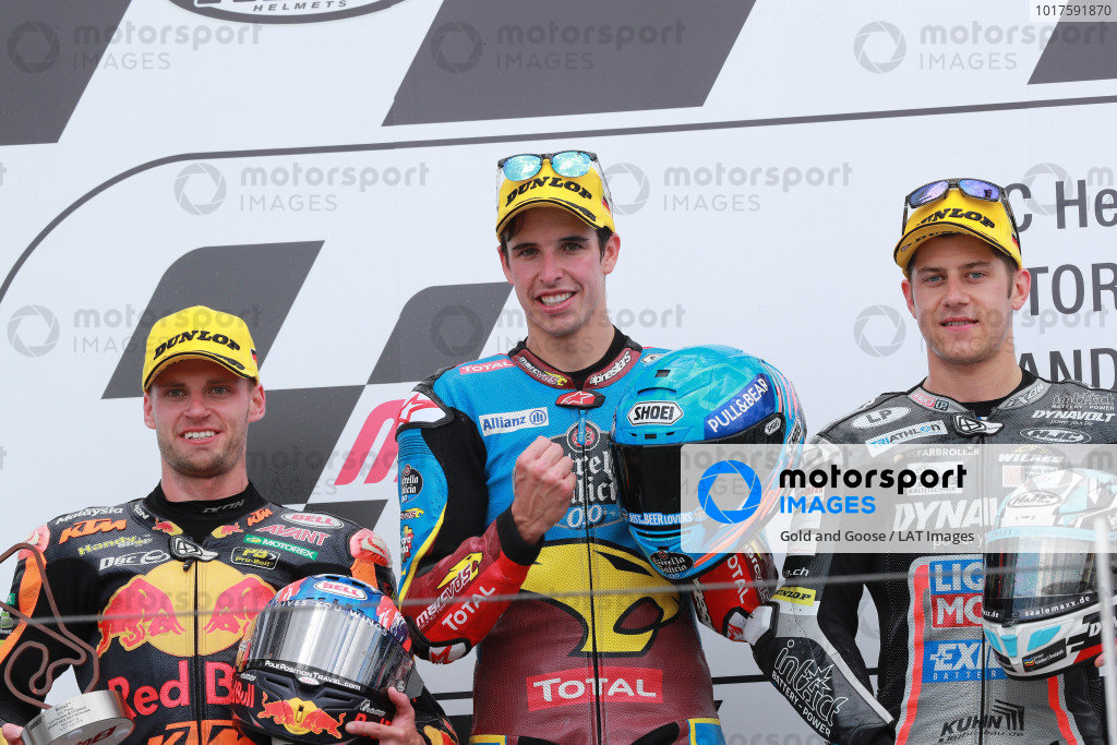 Podium: race winner Alex Marquez, Marc VDS Racing, second place Brad Binder, KTM Ajo, third place Marcel Schrotter, Intact GP.